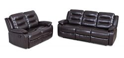JUNTOSO 2 Pieces Double Recliner Sofa Reclining Couch Chair Sets Air Leather Living Room Lounge  ...