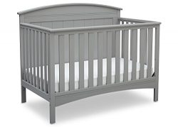 Delta Children Archer Solid Panel 4-in-1 Convertible Baby Crib, Grey