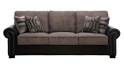 Homelegance Boykin Dual Fabric Faux Leather/Chenille Sofa with Accent Pillows, Brown