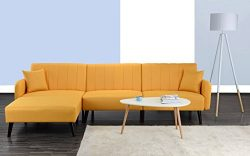 Divano Roma Furniture Mid Century Modern Style Linen Fabric Sleeper Futon Sofa, Living Room L Sh ...