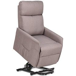 Giantex Recliner Sofa Chair Power Lift Recliner Fabric Padded Seat,Stable Steel Frame W/Remote A ...