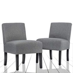 Set of 2 Modern Design Fabric Armless Accent Dining Chairs w/Solid Wood Leg Bestmassage