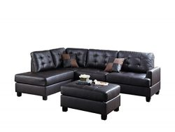 Poundex Bobkona Matthew Faux Leather Left or Right Hand Chaise SECTIONAL Set with Ottoman in Esp ...