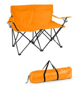 Trademark Innovations Loveseat Style Double Camp Chair with Steel Frame, Orange