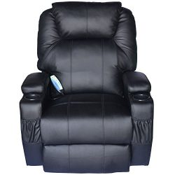 HomCom PU Leather Heated Vibrating 360 Degree Swivel Massage Recliner Chair with Remote –  ...
