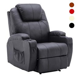 Manual Recliner Chair Media Armchair PU Leather Ergonomic Lounge Sofa & Cup Holder 8032 (Black)