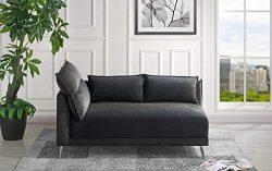 Velvet 55.9″ inch Modern Living Room Chaise Lounge (Black)