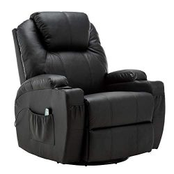 Modern Massage Recliner Chair Vibrating Sofa Heated PU Leather Ergonomic Lounge 360 Degree Swive ...