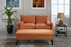 Upholstered Velvet Loveseat 59″ inch with Ottoman/Foot Stool (Orange)
