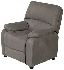 Relaxzen USB Charging Contemporary Kids Recliner with Storage Arms, Gray