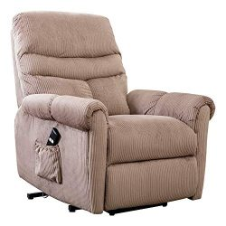 Lift Chair Recliner for Elderly Power Electric Seat with Remote Control Recliners – Camel