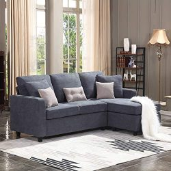 HONBAY Convertible Sectional Sofa Couch, L-Shaped Couch with Modern Linen Fabric for Small Space ...