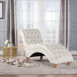 Christopher Knight Home 300336 Rhodes Ivory Leather Chaise