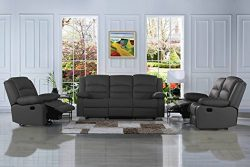 Divano Roma Furniture Traditional Classic Reclining Sofa Set – Real Grain Leather Match- D ...