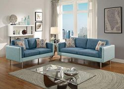 Benzara BM168695 Plushed Cushions Sofa with Loveseat and Accent Pillows, Blue