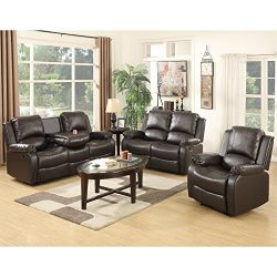 SUNCOO 3-Piece Bonded Leather Recliner Sofa Set with Cup Holder Loveseat Chair Living Room Furni ...