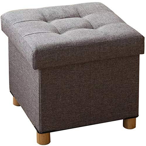 BRIAN & DANY Home Folding Storage Ottoman with Legs | Upholstered | 16 x 16 | Linen | Strong ...
