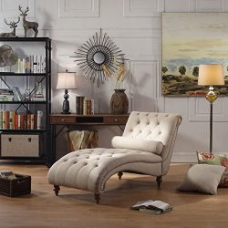 Rosevera D7-1 Teofila Tufted Lounge Chair, Standard, Beige