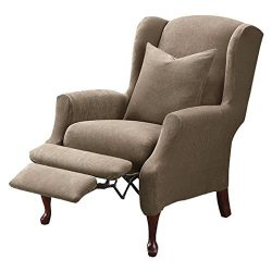 Sure Fit Stretch Pique – Reclining Wing Chair Slipcover  – Taupe (SF37311)