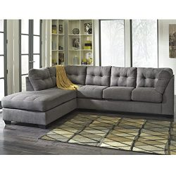 Flash Furniture Benchcraft Maier Sectional with Left Side Facing Chaise in Charcoal Microfiber