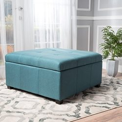 Carlyle Dark Teal Fabric Storage Ottoman