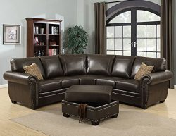 AC Pacific Louis Collection Traditional 3-Piece Upholstered Leather Living Room Sectional with S ...