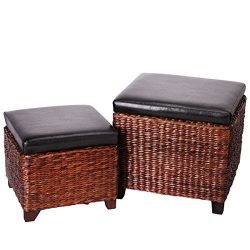 Eshow Ottoman Rattan Ottoman with Storage Hassocks and Ottomans Foot Rest Pouf Ottoman Foot Stoo ...