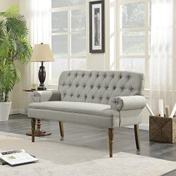 Belleze Vintage Loveseat Sofa Settee Bench with Wood Legs Living Room Linen Fabric Button Tufted ...