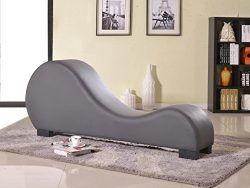 Container Furniture Direct Divine Collection Modern Upholstered Faux Leather Curved Yoga Chaise  ...