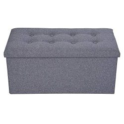Classics Linen Foldable Storage Stool Fabric Storage Ottoman Bench Change Shoes Sofa Stool Gray  ...