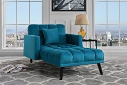 Sofamania Modern Velvet Fabric Recliner Sleeper Chaise Lounge – Futon Sleeper Single Seate ...