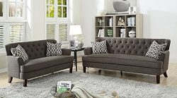 Benzara BM168683 Velveteen Sofa with Loveseat and Accent Pillows, Dark Gray