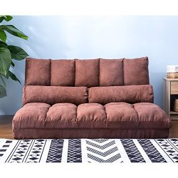 Harper&Bright Designs Double Chaise Lounge Sofa Chair Floor Couch with Two Pillows (Brown)