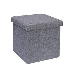 B FSOBEIIALEO Storage Ottoman Cube, Linen Small Coffee Table, Foot Rest Stool Seat, Folding Toys ...