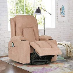 Power Lift Recliner Chair for Elderly,Reclining Lift Chair 160 Degree Recline Soft Warm Fabric S ...