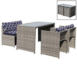 OC Orange-Casual 5 Piece Rattan Wicker Furniture Set Outdoor Dining Set Cushioned Patio Sectiona ...