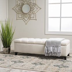 "Christopher Knight Home 299247 Living Charleston Ivory Tufted Velvet Storage Ottoman, 17.50""D x  ..."