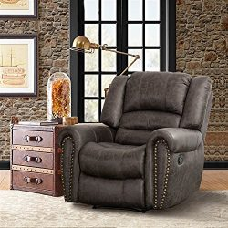 CANMOV Breathable Bonded Leather Recliner Chair, Classic and Traditional 1 Seat Sofa Manual Recl ...