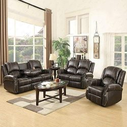 Mecor 3 Piece Sofa Set Bonded Leather Gold Thread Reclining Living Room Furniture with 3-Seat So ...