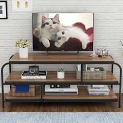 LITTLE TREE TV Stand, 60″ Entertainment Center with Shelves, Large 3-Tier Media Console Ta ...