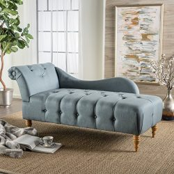 Christopher Knight Home 300524 Antonya Fabric Tufted Chaise Lounge, Blue Gray