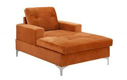 Divano Roma MidCentury Upholstered Chaise Lounge 54.7″ inches (Rust)