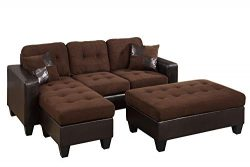 Poundex Reversible Sectional Sofa Set with Ottoman (Chocolate with Espresso Faux Leather Base)