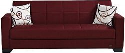 BEYAN SB 2019 Vermont Modern Chenille Fabric Upholstered Convertible Sofa Bed with Storage, 84&# ...