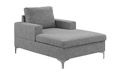 Casa Andrea Milano Modern Chaise Lounge, Mid Century Linen Fabric Chaise (Light Grey)