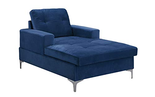 Divano Roma MidCentury Upholstered Chaise Lounge 54.7″ inches (Navy)