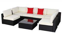 Do4U Patio Sofa 7-Piece Set Outdoor Furniture Sectional All-Weather Wicker Rattan Sofa Beige Sea ...