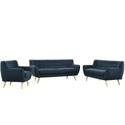 Modway EEI-1782-AZU-SET Remark Mid-Century Modern Upholstered Fabric Sofa, Loveseat, and Armchai ...