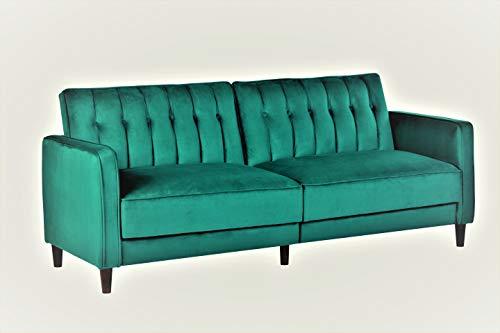 Container Furniture Direct SB-9027 Anastasia Mid Century Modern Velvet Tufted Convertible Sleepe ...