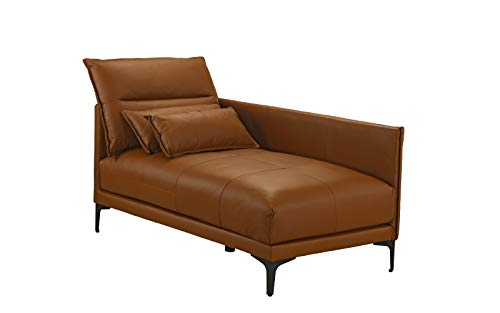 Mid Century Modern Living Room Leather Chaise Lounge (Camel Brown)